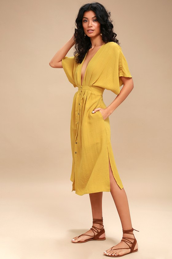 b730d47564 Lost + Wander Poppy - Mustard Yellow Midi Dress