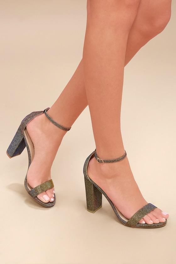 Taylor Multi Woven Metallic Ankle Strap Heels 1