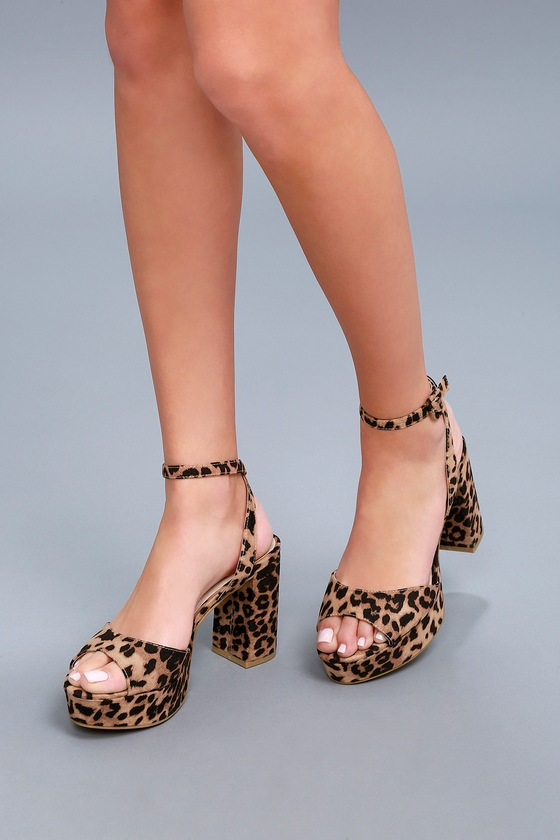 58a7c583fde Sexy Leopard Print Stiletto Heel Ankle Strap High Heel Shoes
