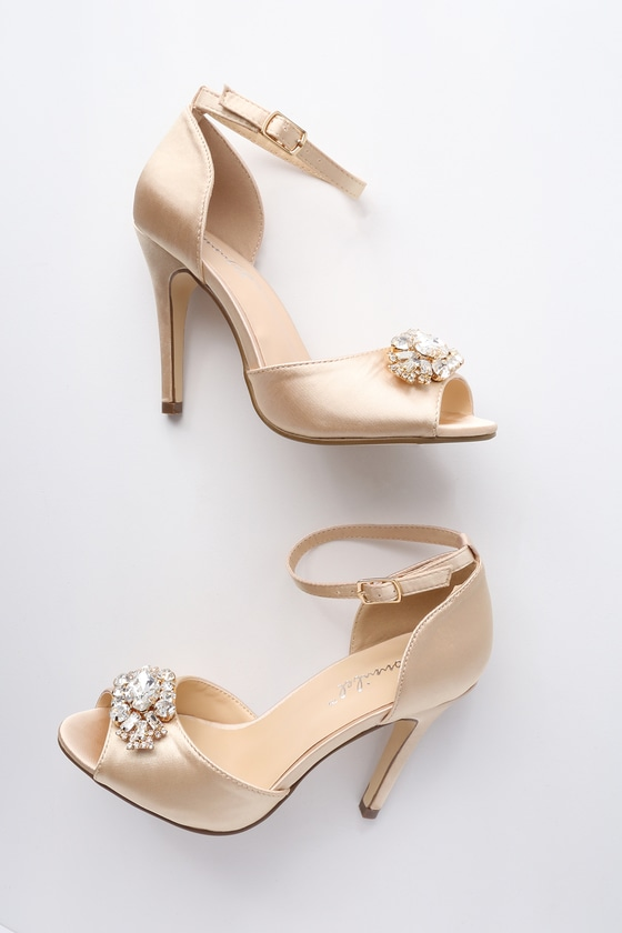3fe93cf882d Bethany Nude Satin Rhinestone Ankle Strap Pumps 3