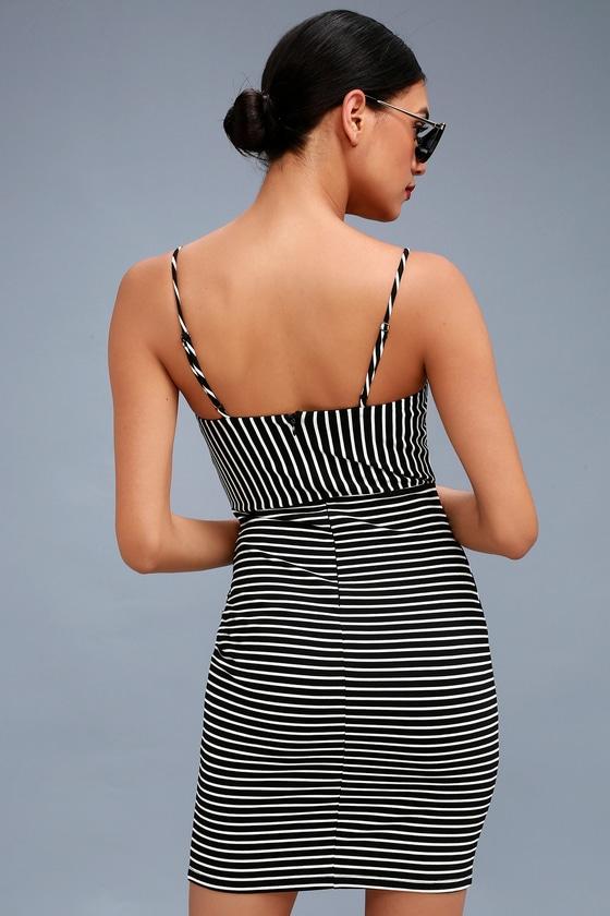 Black and white striped bodycon dress no background drop
