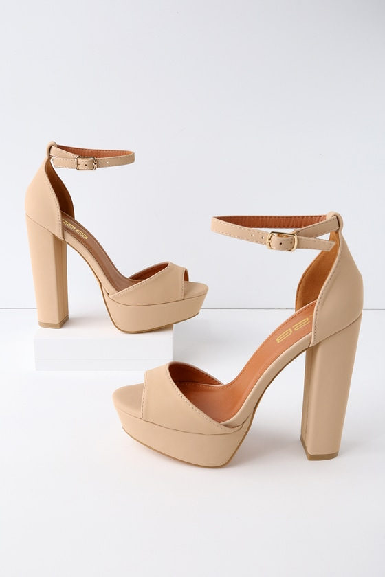 6a7e667edfb66 Nude Faux Suede Ankle Strap Chunky Platform Heels @ Cicihot Heel Shoes  online store sales:Stiletto Heel Shoes,High Heel Pumps,Womens High Heel  Shoes,Prom …