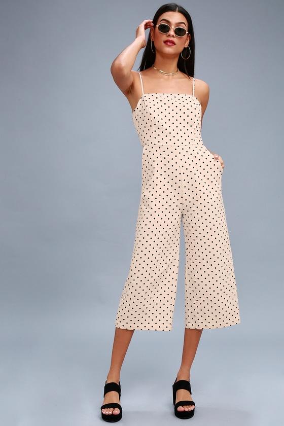 Chic Cream Polka Dot Jumpsuit - Culotte Jumpsuit