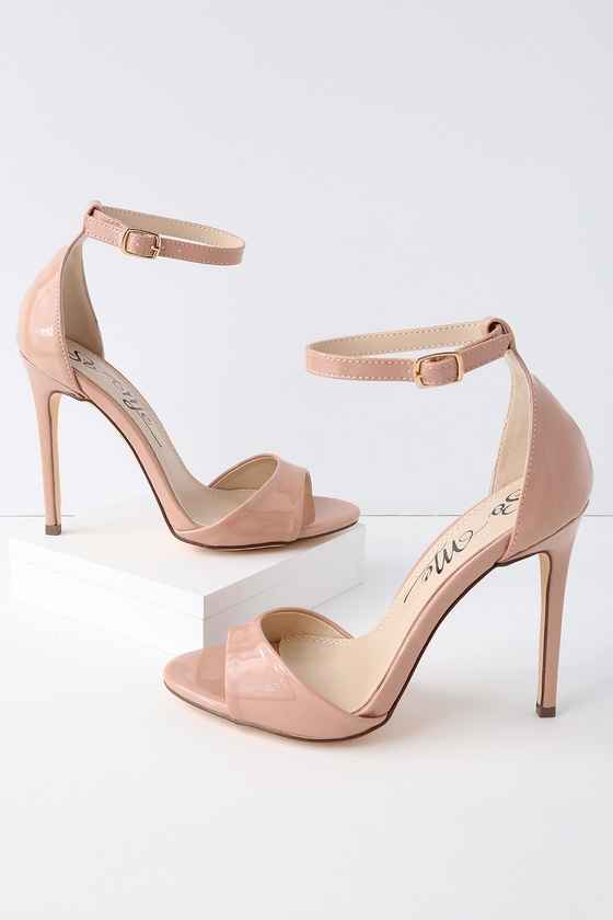 93011fe64578 Maxine Nude Patent Ankle Strap Heels. Peep Toe Nude Patent Leather Sky High  Heels Pumps Classic Fashion ...
