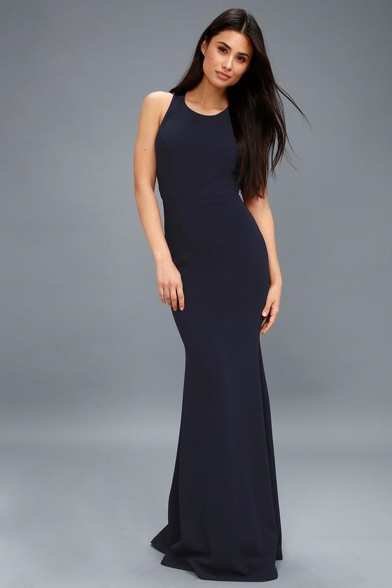 8b78cf71ec7 Navy Blue Maxi Dress - Backless Dress - Backless Maxi Dress