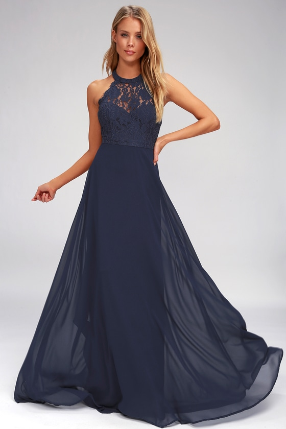 Elegant Maxi Dress Lace Maxi Dress Navy Blue Maxi Dress