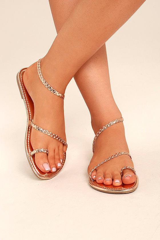 Boho Sandals Rose Gold Sandals Flat Sandals Toe Loop
