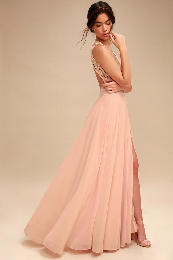 Lovely Blush Pink Dress Lace Maxi Dress Backless Dress