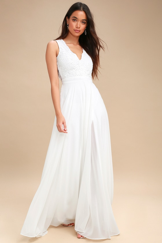 Lovely White Dress - Lace Maxi Dress - Backless Dress