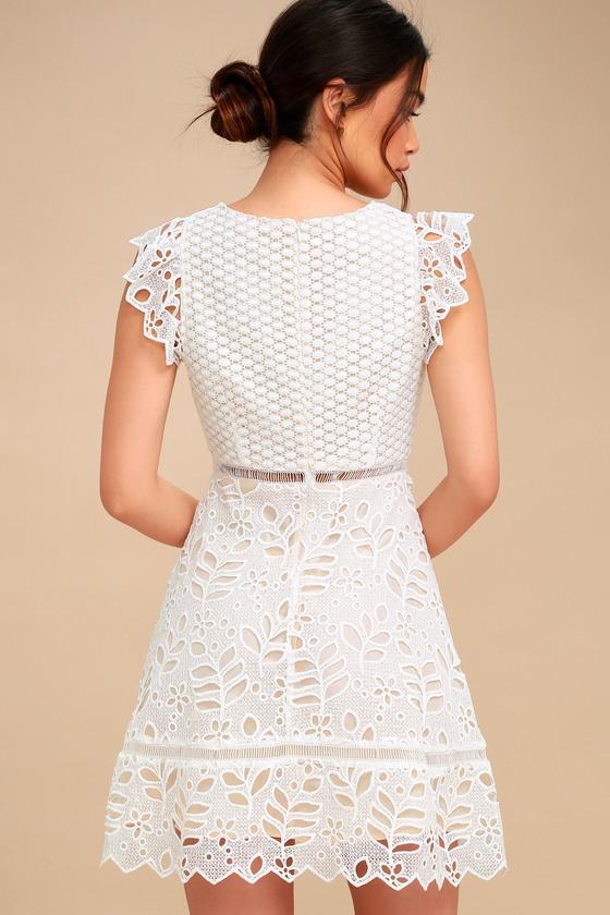 Bb Dakota Ariane White Lace Dress Lace Skater Dress