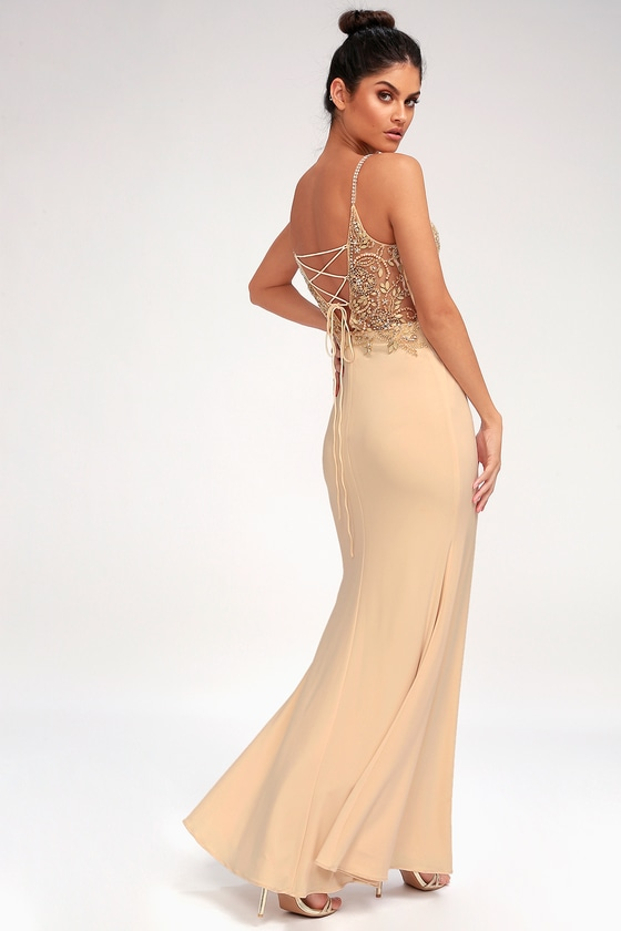 Champagne Maxi Dress - Beaded Dress - Rhinestone Dress
