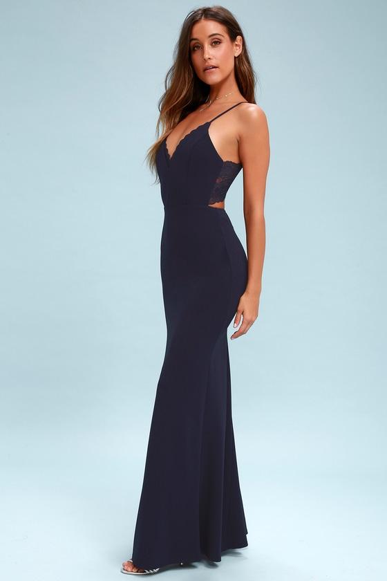 Chic Navy Blue Maxi Dress Lace Dress Backless Dress