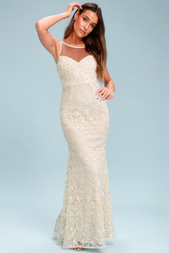 Lovely Cream Maxi Dress - Embroidered Maxi Dress