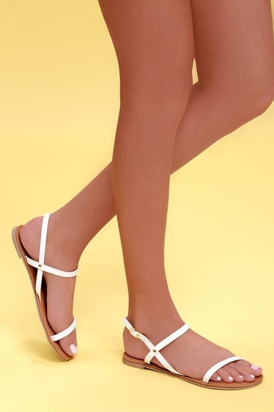 4627bef03 Cute Flat Sandals - White Sandals - Vegan Sandals