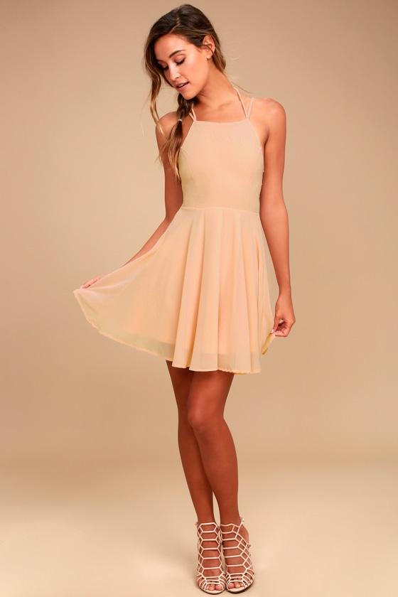 Sexy Blush Pink Dress Lace Up Dress Backless Dress 4400