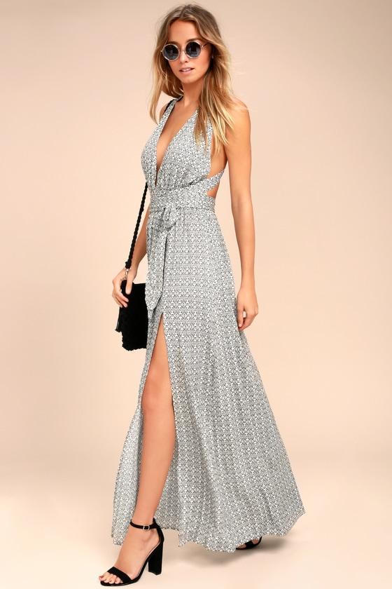 Maxi Dress - Black and White Print Dress - Halter Maxi Dress