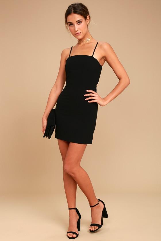 Cute Black Dress Lbd Mini Dress Tie Back Dress Sheath Dress