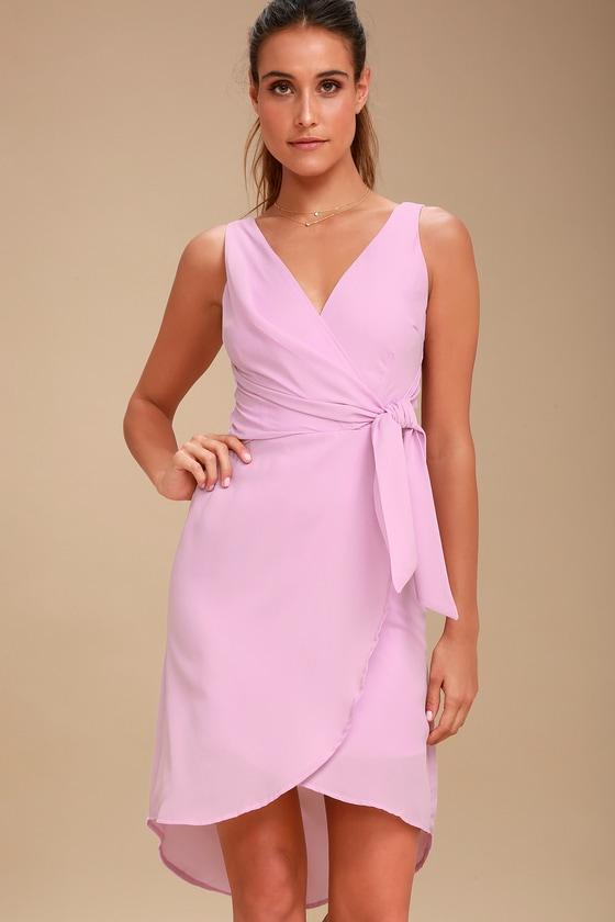 Lovely Lavender Dress - Wrap Dress - High-Low Midi Dress
