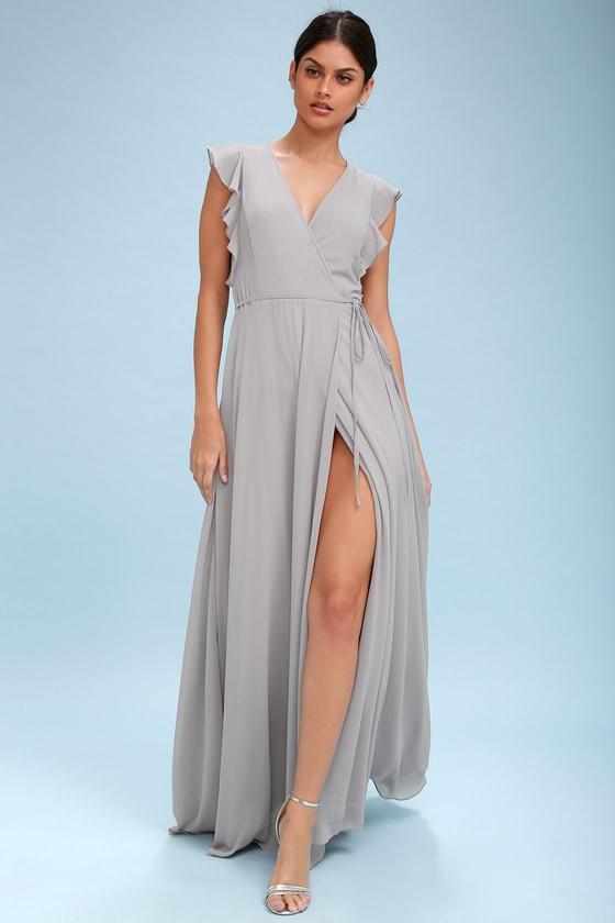 Stunning Maxi Dress - Wrap Maxi Dress - Light Grey Maxi Dres