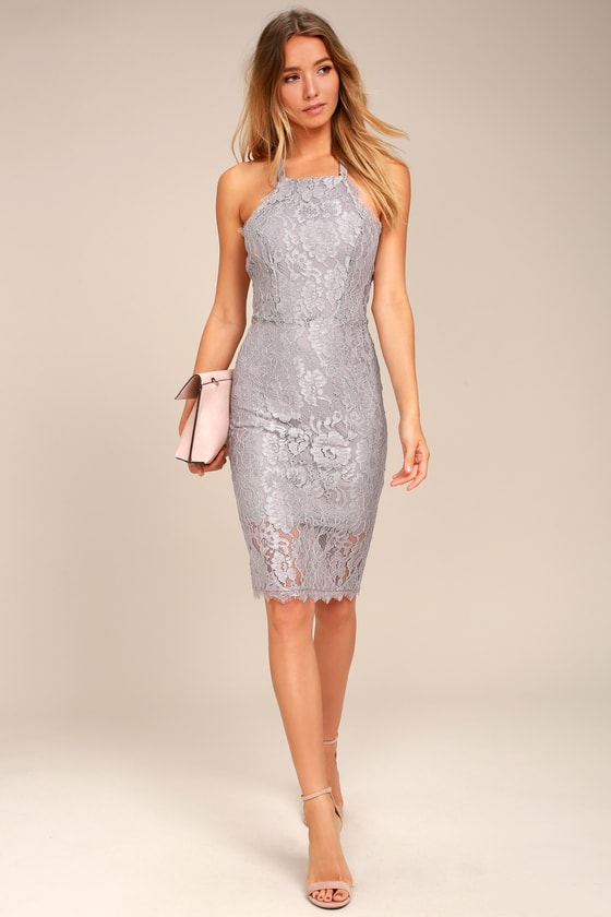 Stunning Grey Lace Midi Dress - Lace Bodycon Dress -  66.00 2576483b6b9