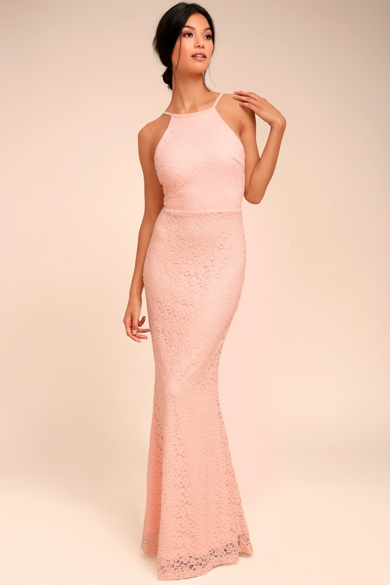 Lovely Peach Dress - Lace Dress - Maxi Dress - $94.00