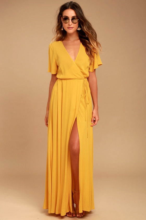 Lovely Golden Yellow Dress Wrap Dress Maxi Dress