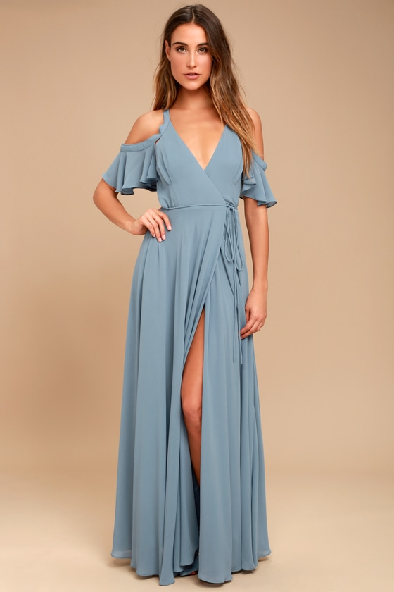 EASY LISTENING SLATE BLUE OFF-THE-SHOULDER WRAP MAXI DRESS LULUS