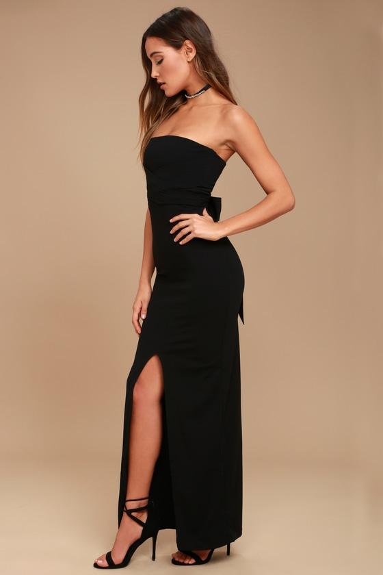 Lovely Black Dress Strapless Dress Maxi Dress Gown 7200