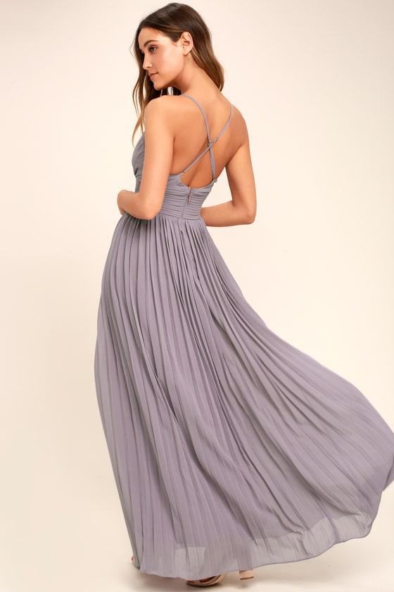 Light Purple Dress Pleated Maxi Dress Dusty Purple Gown