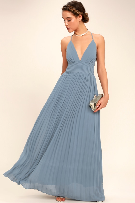 Stunning Dusty Blue Dress Pleated Maxi Dress Blue Gown
