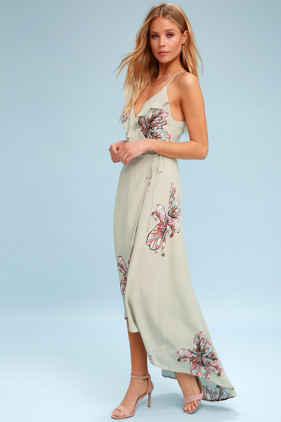 Alter Your Mood Sage Green Floral Print High-Low Wrap Dress 2