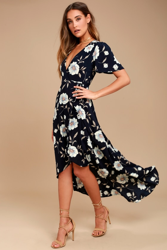 64fa78d5139 Navy Blue Floral Print Dress - Wrap Dress - High-Low Dress