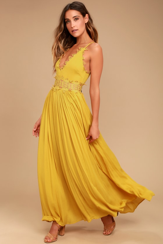 01db3a73c43a Mustard Yellow Maxi Dress - Lace Maxi Dress - Plunge Neck