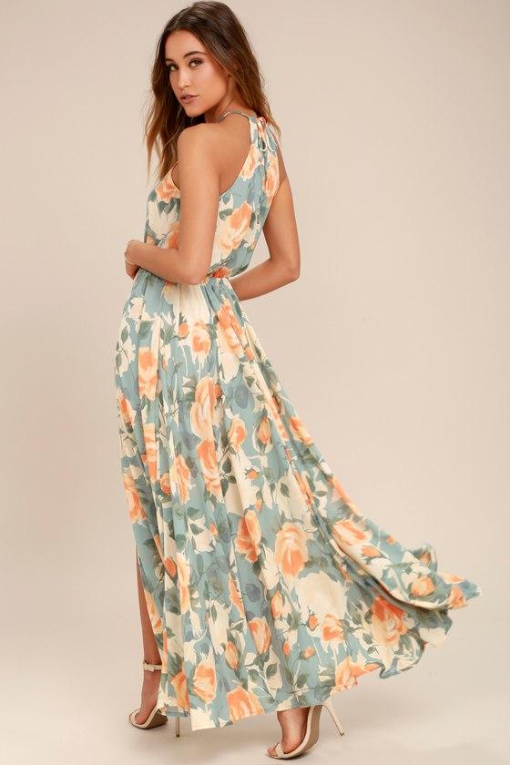 Stunning Floral Print Maxi Dress Light Blue And Peach