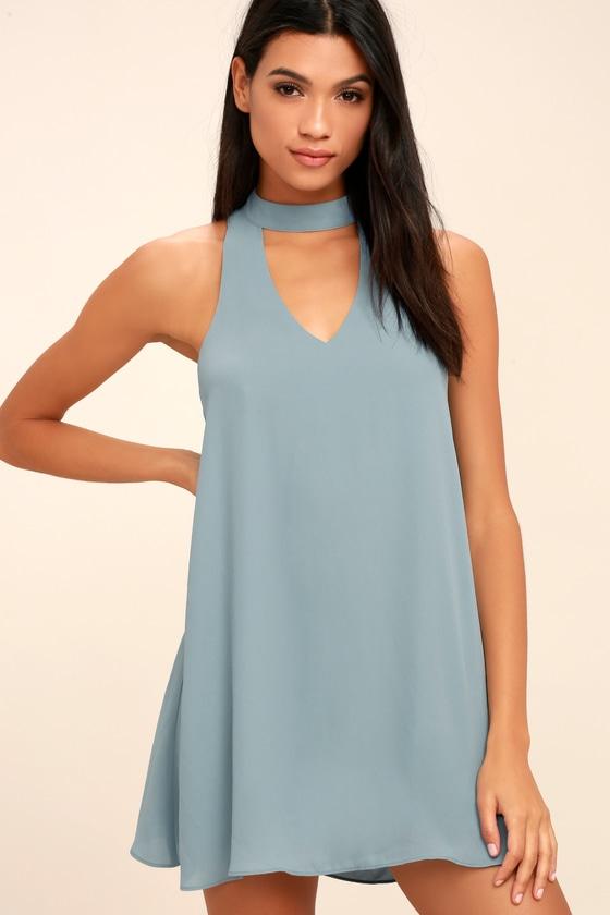 Cute Slate Blue Dress - Swing Dress - Cutout Dress