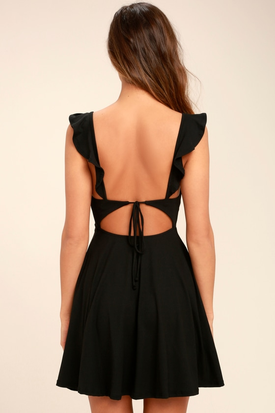 Black Dress Backless Skater Dress Fit And Flare Dress