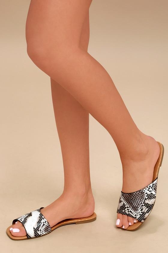 Remi Black and White Snake Print Slide Sandals 5