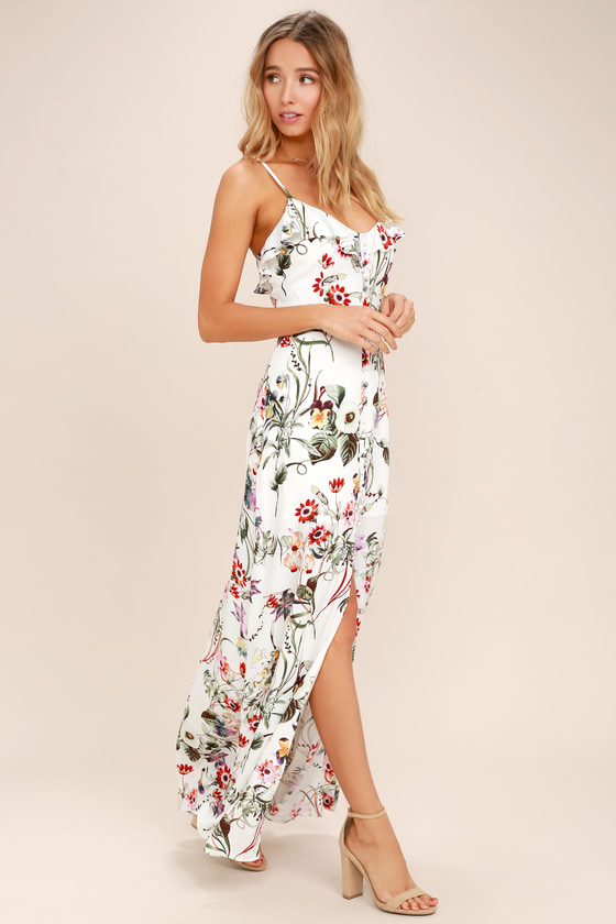 d405c391f7 Lovely Ivory Floral Dress - Floral Print Dress - Maxi Dress