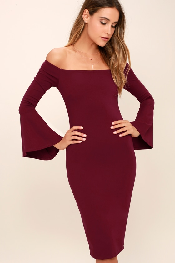 b82f2a10bbe4 Chic Burgundy Dress - Off-the-Shoulder Dress - Midi Dress