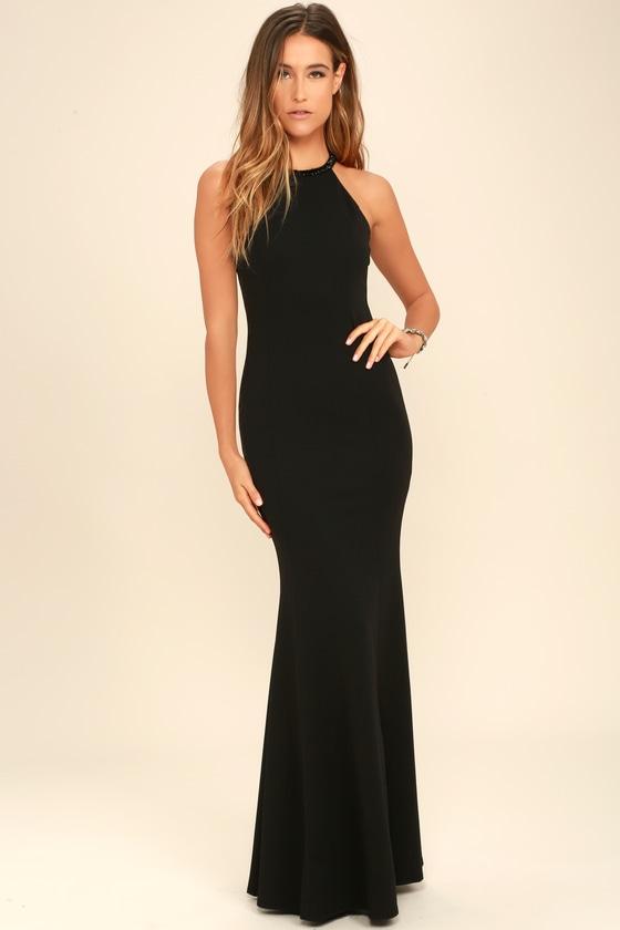 Lovely Black Dress - Beaded Dress - Maxi Dress