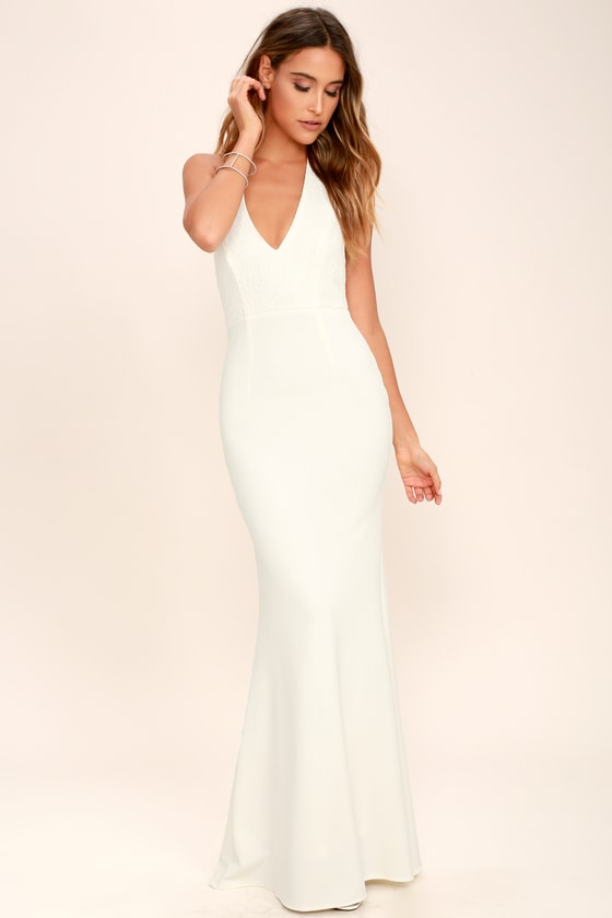 Lovely Ivory Dress Halter Dress Maxi Dress Lace Dress