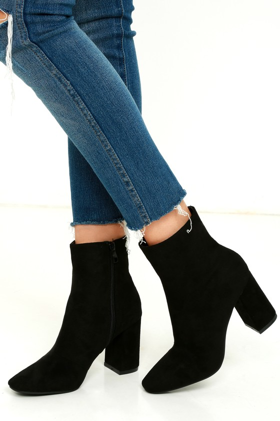 stylish black suede boots fitted black booties high