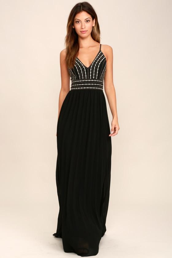 Lovely Black Maxi Dress - Embroidered Maxi Dress - Beaded Maxi Dress ...