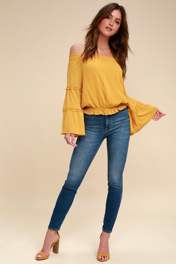 cd639875739bd Sunny Story Mustard Yellow Lace Bell Sleeve Off-the-Shoulder Top