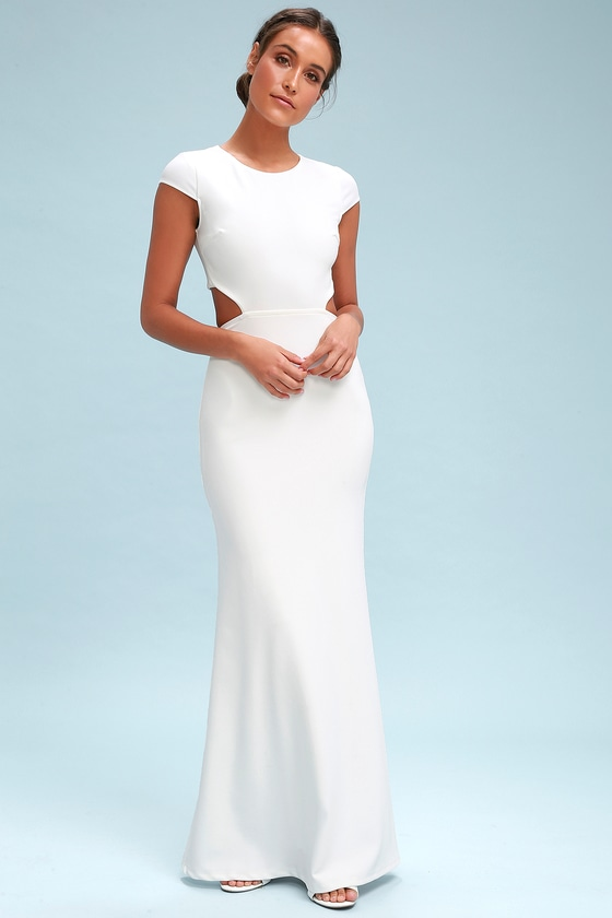 Lovely White Maxi Dress - Backless Maxi Dress - White Gown