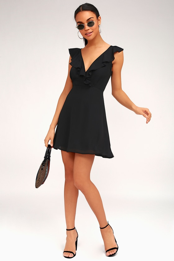 Cute Black Dress Ruffled Dress Backless Dress Lbd