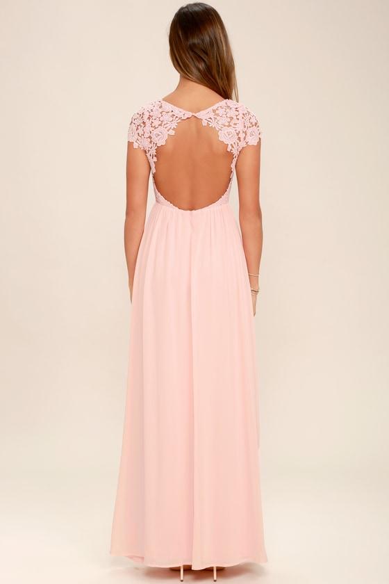 Lovely Blush Pink Dress Lace Dress Backless Maxi Dress