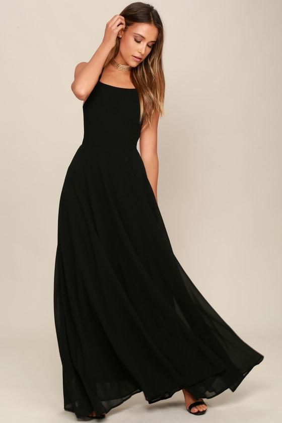 Black Dress - Lace-Up Dress - Backless Dress - Maxi Dress
