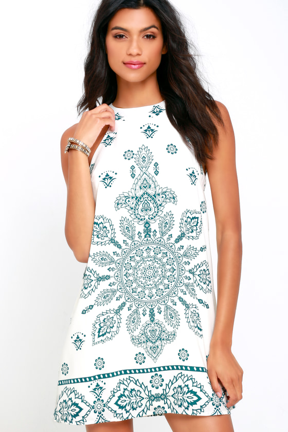 Cute Teal and Cream Dress - Print Dress - Trapeze Dress