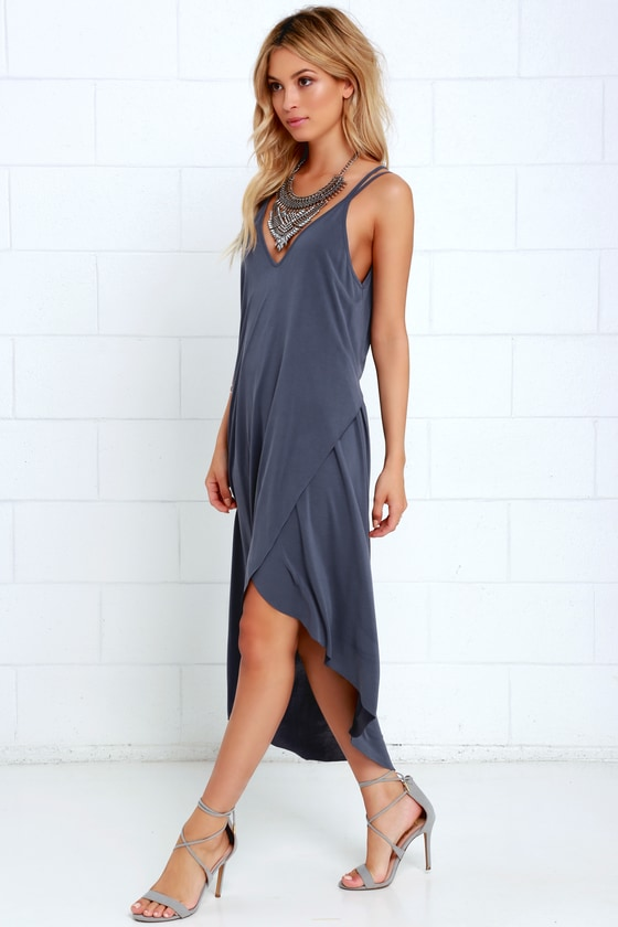 Mood and Melody Washed Blue High-Low Dress 9